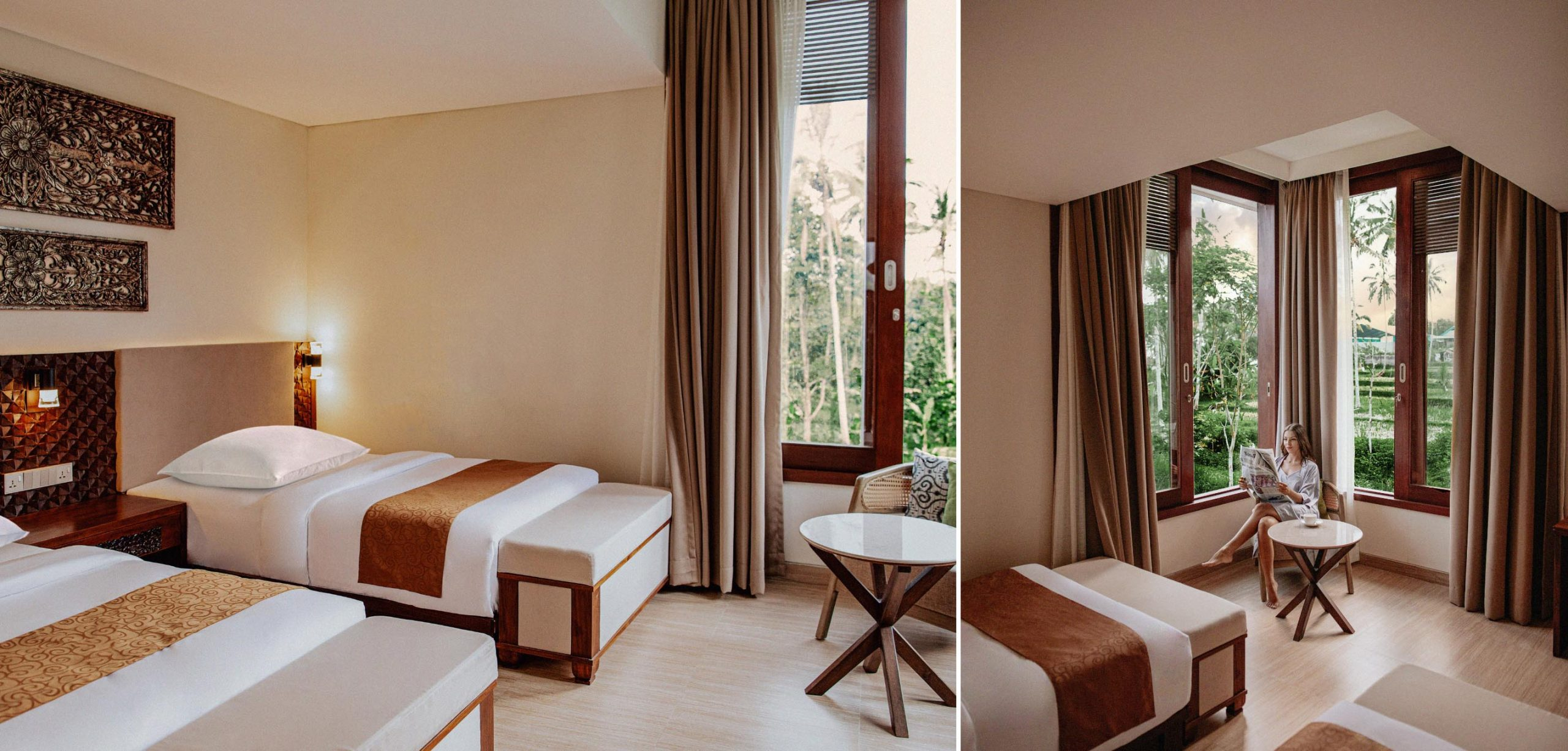 Twin Bedroom with views of Paddy Fields